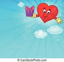 stylisé, coeur, thème, image, 4