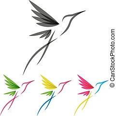 stylisé, coloré,  colibri