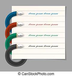 stylisé, coloré, stylo écriture, conception, pour,...