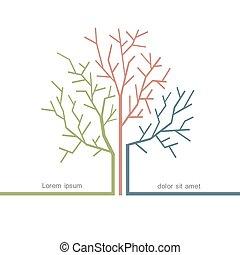 stylisé, concept, arbre