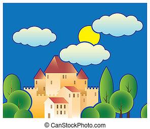 stylisé, conte, fée, château