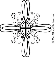 stylisé, croix, ornements