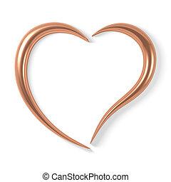stylisé, cuivre, coeur