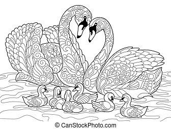 stylisé, cygne, oiseaux, famille, zentangle