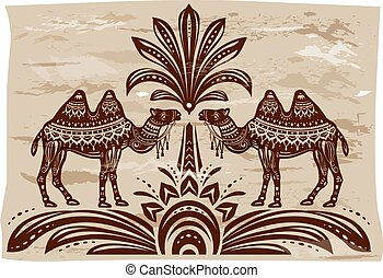 stylisé, décoratif, chameaux, figures