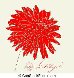 stylisé, dahlia, fleur, illustration