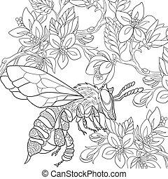 stylisé, dessiné, insecte, main, abeille