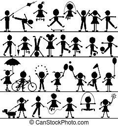 stylisé, dessiné, main, jouer, enfants