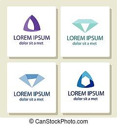 stylisé, diamants, symbole., vecteur, illustration