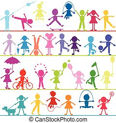 stylisé, enfants, fond, jouer