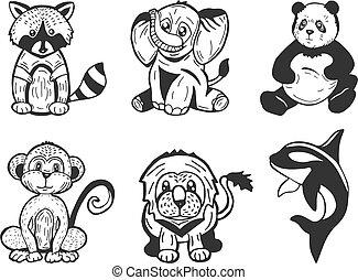 stylisé, ensemble, animaux, dessin animé
