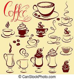 stylisé, ensemble café, icônes, croquis, symboles, tasses
