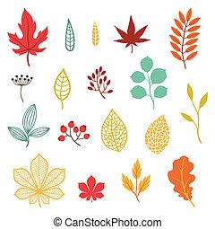 stylisé, ensemble, elements., feuilles, automne, divers