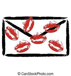 stylisé, enveloppe, baisers, rouge lèvres
