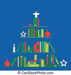 stylisé, fait, arbre, livres, noël