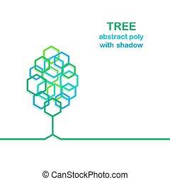 stylisé, feuilles, arbre, polygone