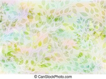 stylisé, feuilles, branches