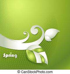 stylisé, feuilles, vecteur, carte
