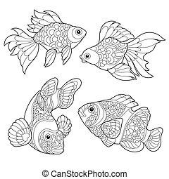 stylisé, fish, espèce, zentangle