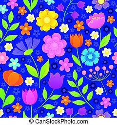 stylisé, fleurs, 2, seamless, fond