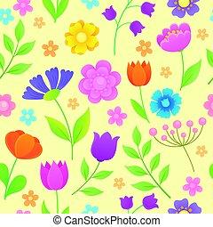 stylisé, fleurs, seamless, fond