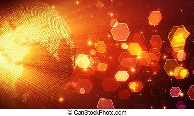 stylisé, globe, brillant, rouges, disco