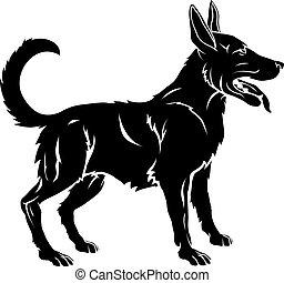stylisé, illustration, chien