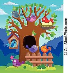 stylisé, image, arbre, thème, oiseaux