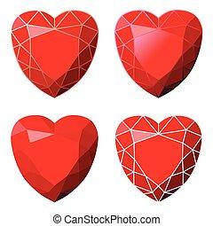 stylisé, images, ensemble, cœurs
