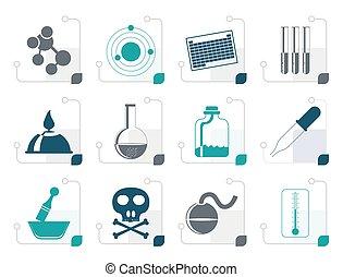 stylisé, industrie, chimie, icônes