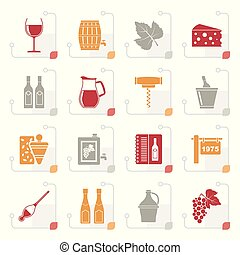 stylisé, industrie, objets, vin, icônes