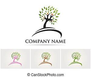 stylisé, letter.., concept, arbre, icône