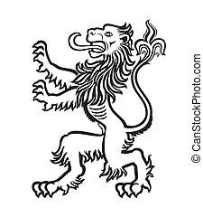 stylisé, lion, 01, héraldique