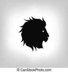 stylisé, lion, tête, -, vecteur, illustration