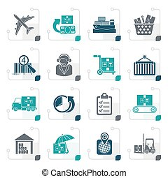 stylisé, logistique, expédition, cargaison, icônes
