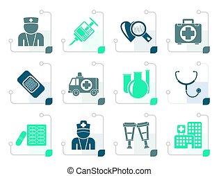 stylisé, médecine, healthcare, icônes