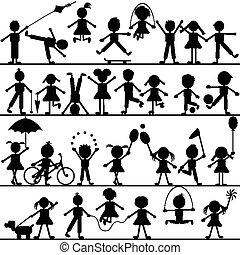 stylisé, main, dessiné, enfants jouer