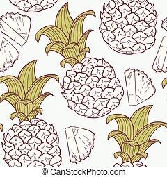 stylisé, modèle, ananas, contour, seamless