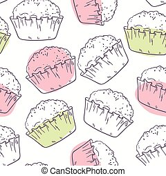 stylisé, modèle, muffins, contour, seamless
