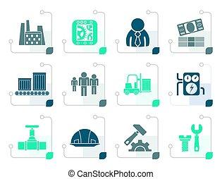 stylisé, moulin, business, usine, icônes