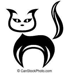 stylisé, noir, amuser, chat