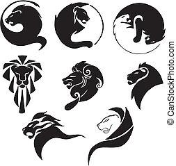stylisé, noir, lions