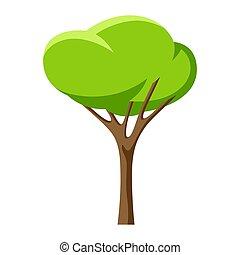 stylisé, ou, été, arbre vert, printemps, leaves.