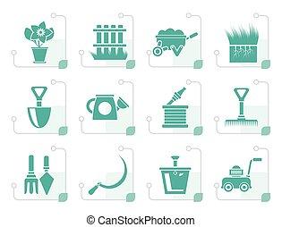 stylisé, outils, jardinage, jardin, icônes
