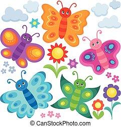 stylisé, papillons, thème
