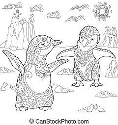 stylisé, pingouins, jeune, zentangle