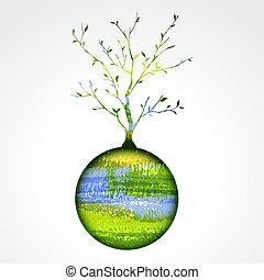 stylisé, planète, arbre