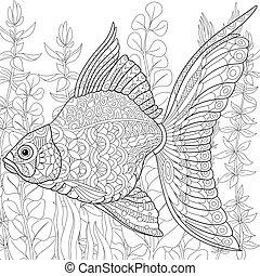 stylisé, poisson rouge,  zentangle