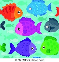 stylisé, poissons, 1, seamless, fond