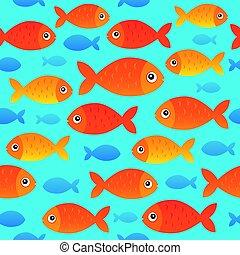 stylisé, poissons, 2, seamless, fond
